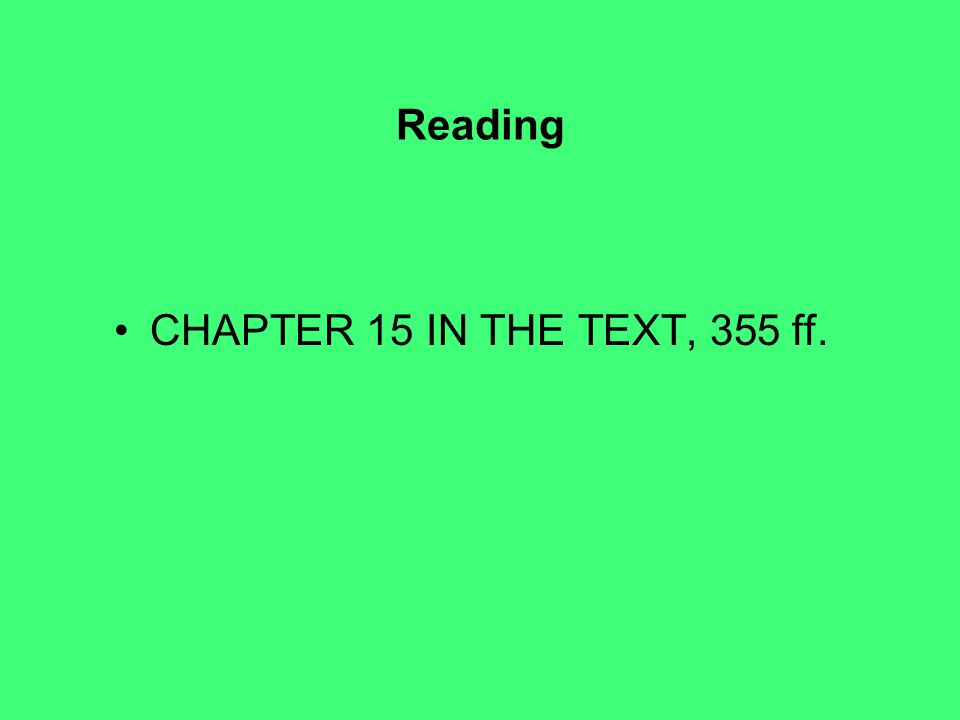 Reading CHAPTER 15 IN THE TEXT, 355 ff.
