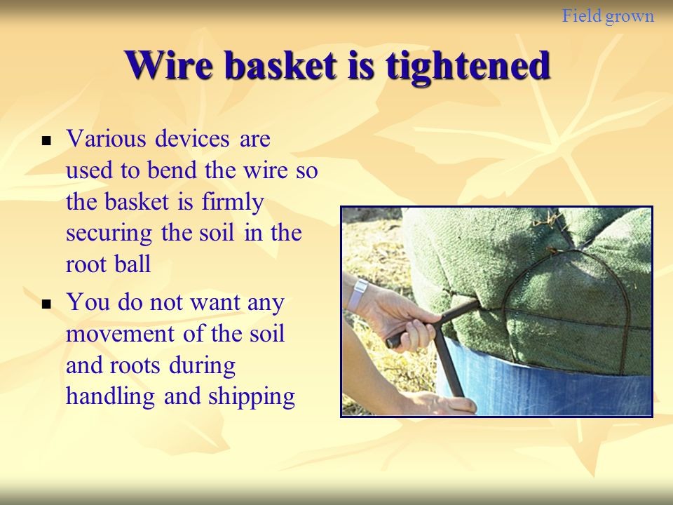 Wire basket is tightened