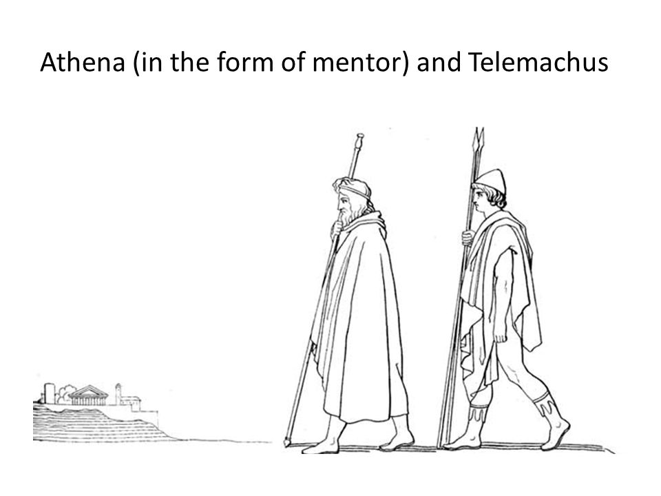 Athena (in the form of mentor) and Telemachus