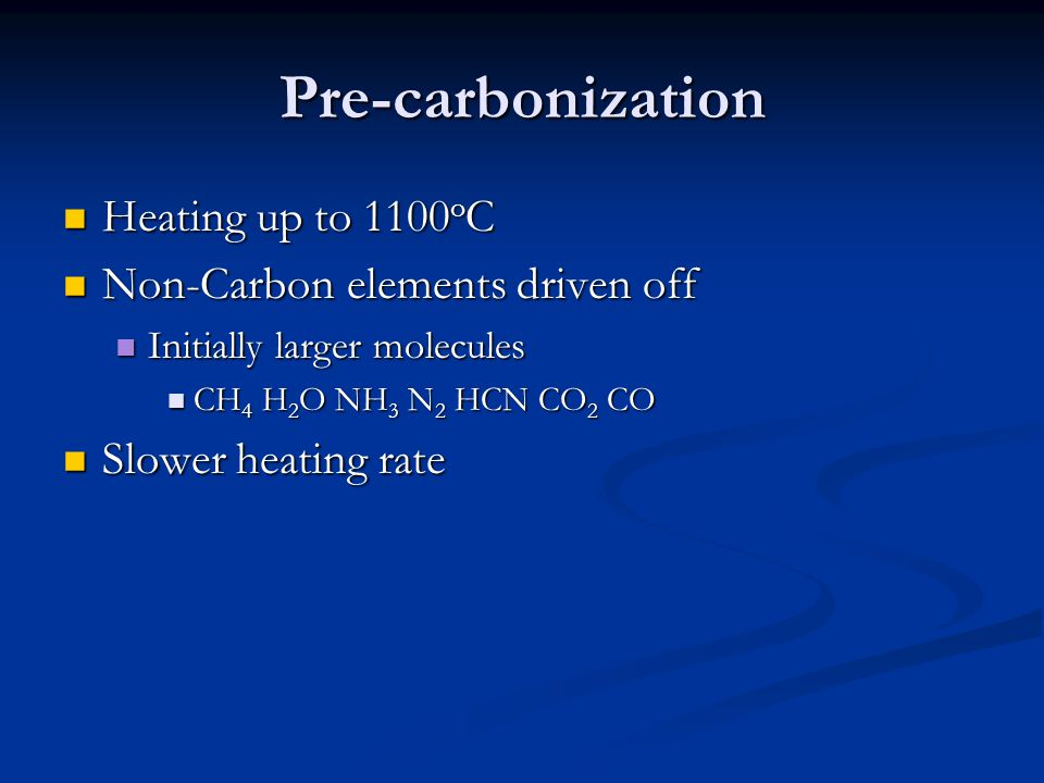Pre-carbonization Heating up to 1100oC Non-Carbon elements driven off