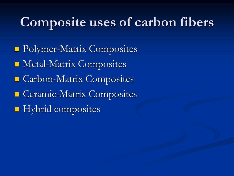 Composite uses of carbon fibers