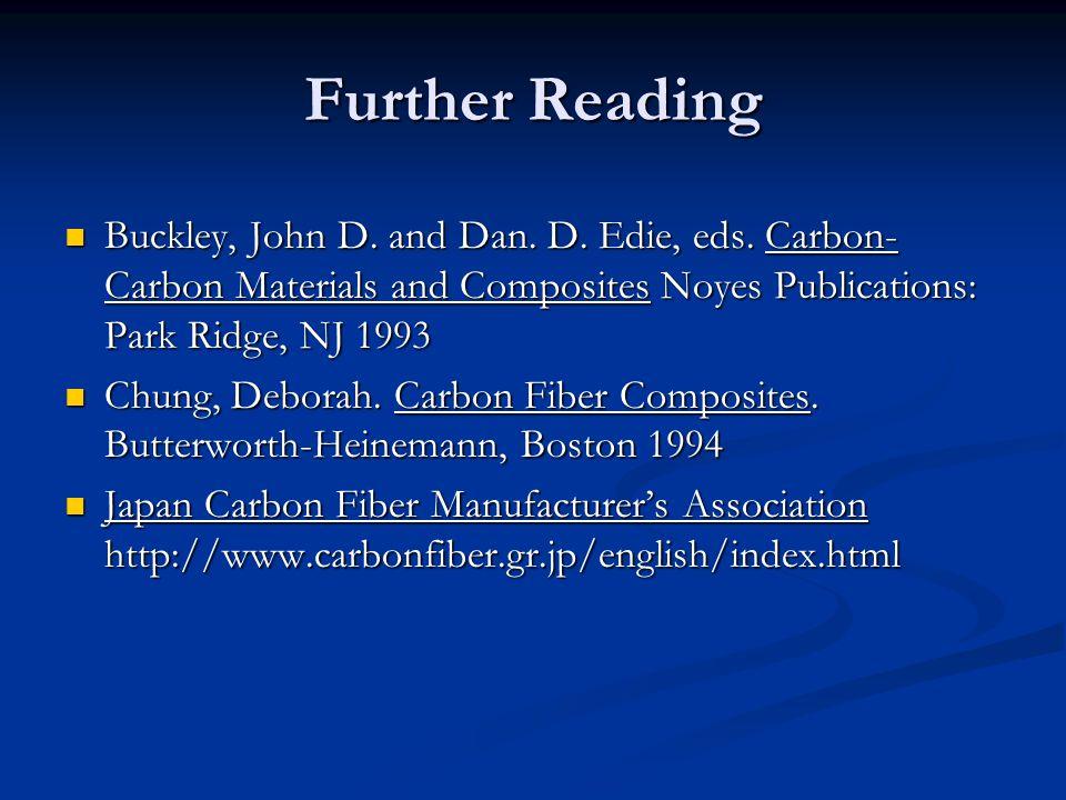 Further Reading Buckley, John D. and Dan. D. Edie, eds. Carbon-Carbon Materials and Composites Noyes Publications: Park Ridge, NJ 1993.