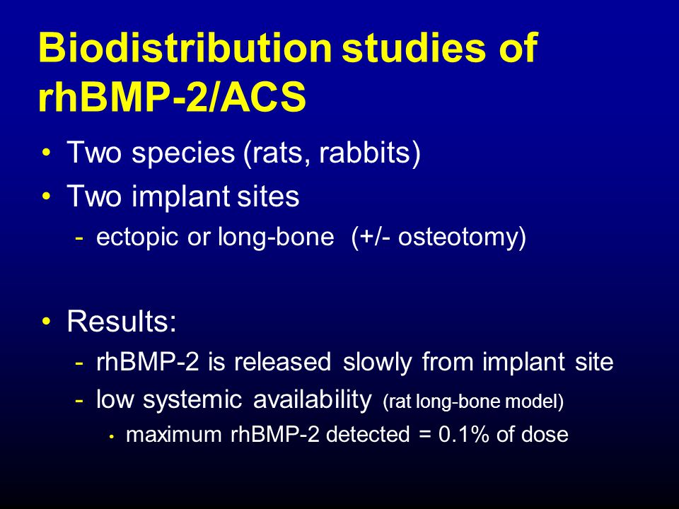 Biodistribution studies of rhBMP-2/ACS