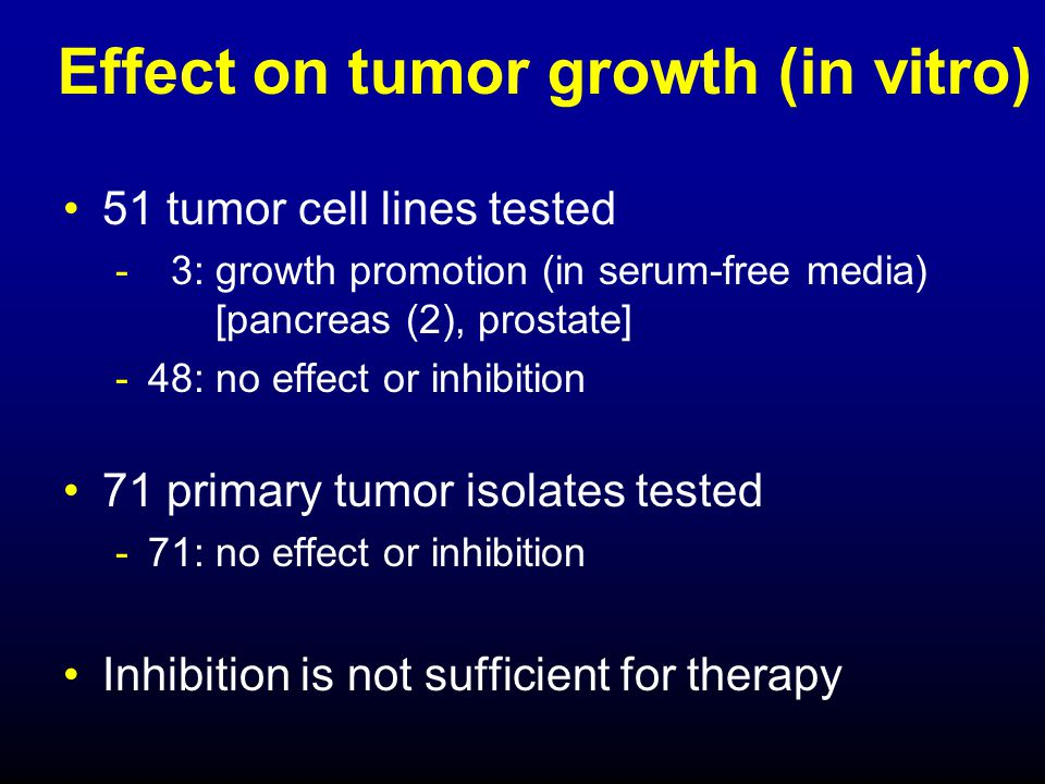 Effect on tumor growth (in vitro)