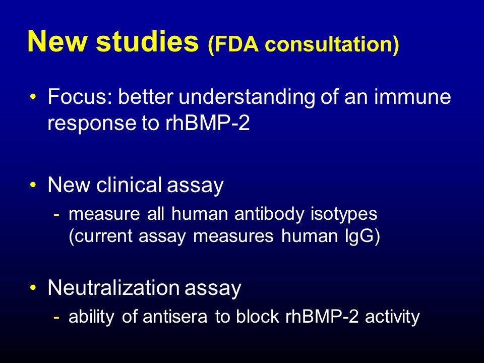 New studies (FDA consultation)