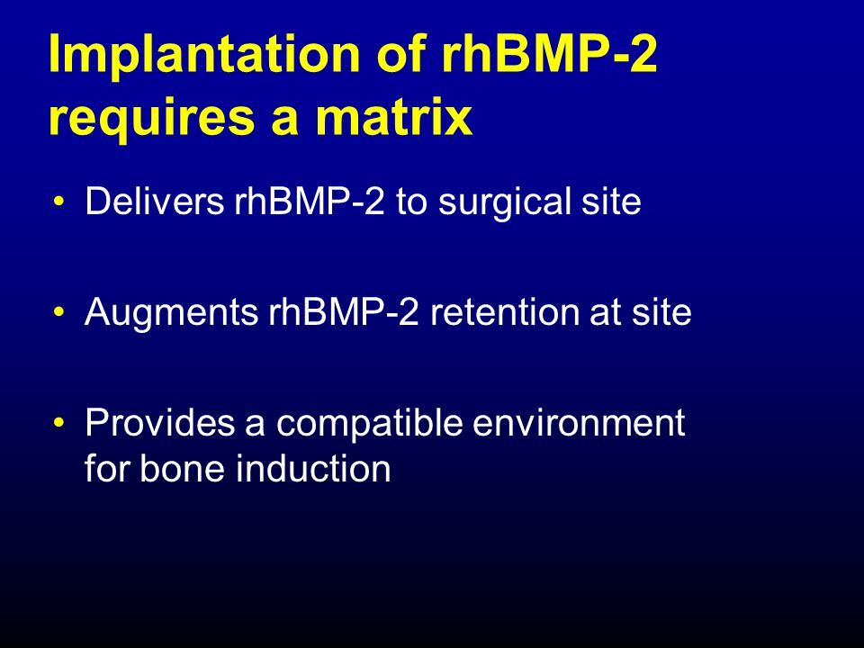 Implantation of rhBMP-2 requires a matrix