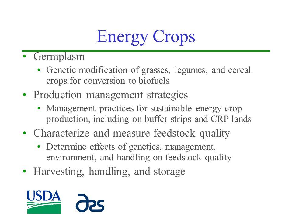 Energy Crops Germplasm Production management strategies