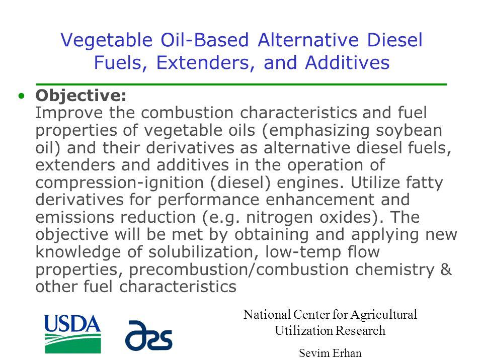 Vegetable Oil-Based Alternative Diesel Fuels, Extenders, and Additives
