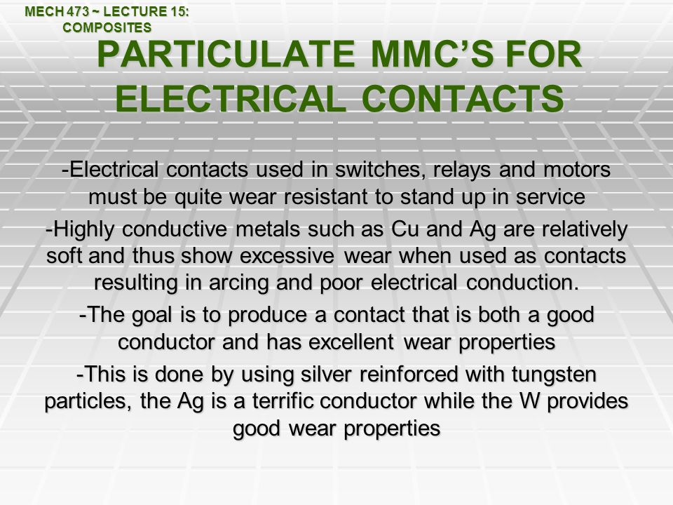PARTICULATE MMC'S FOR ELECTRICAL CONTACTS