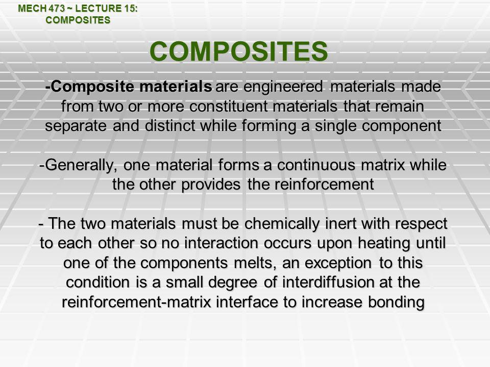 MECH 473 ~ LECTURE 15: COMPOSITES