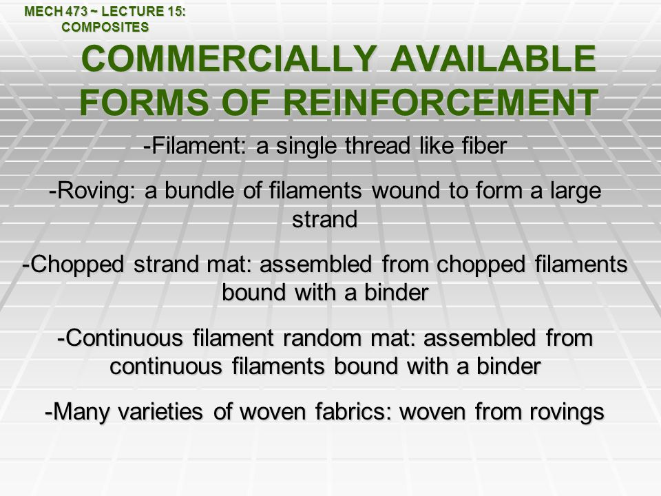 COMMERCIALLY AVAILABLE FORMS OF REINFORCEMENT