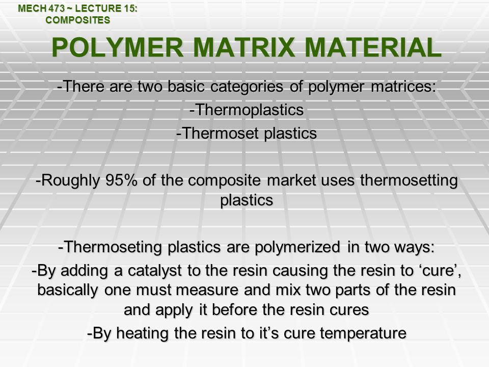 POLYMER MATRIX MATERIAL