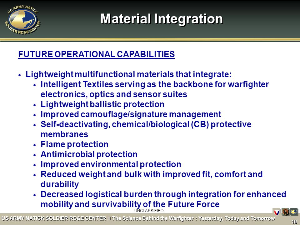 Material Integration FUTURE OPERATIONAL CAPABILITIES