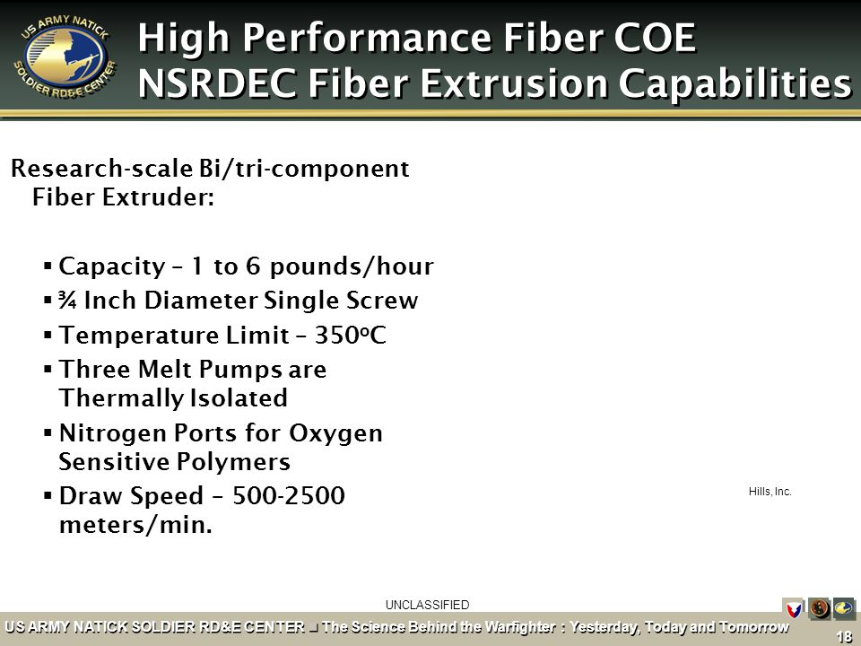 High Performance Fiber COE NSRDEC Fiber Extrusion Capabilities
