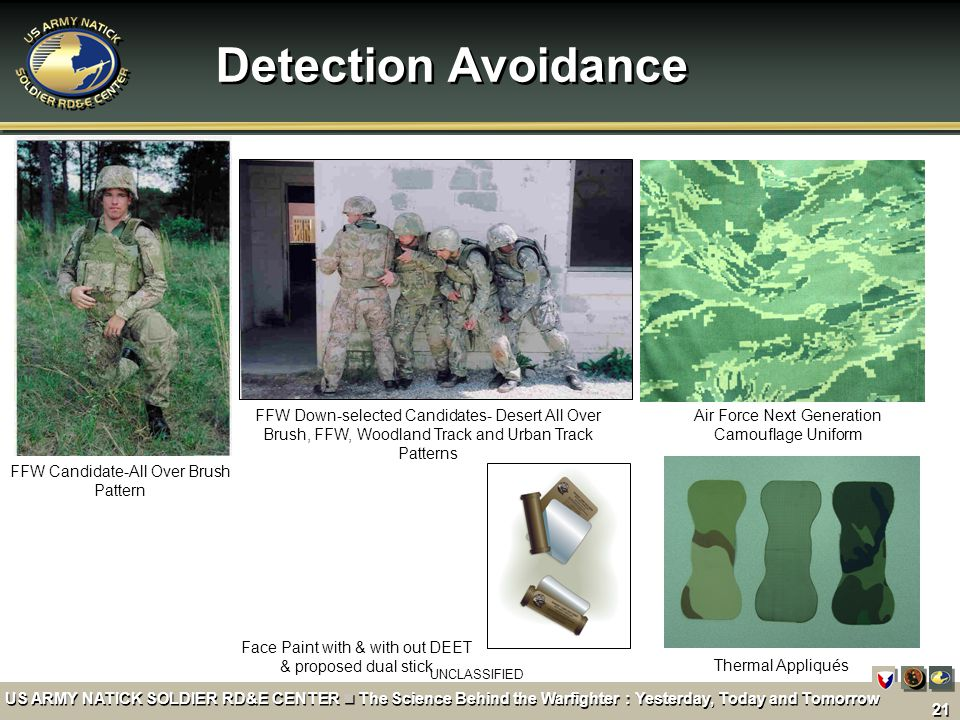 Detection Avoidance FFW Down-selected Candidates- Desert All Over Brush, FFW, Woodland Track and Urban Track Patterns.