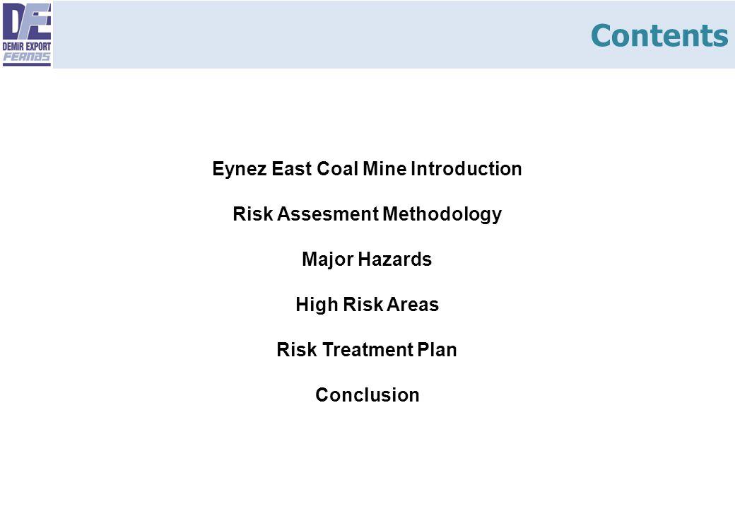 Contents Eynez East Coal Mine Introduction Risk Assesment Methodology Major Hazards High Risk Areas Risk Treatment Plan Conclusion.