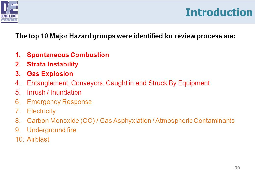 Introduction The top 10 Major Hazard groups were identified for review process are: Spontaneous Combustion.