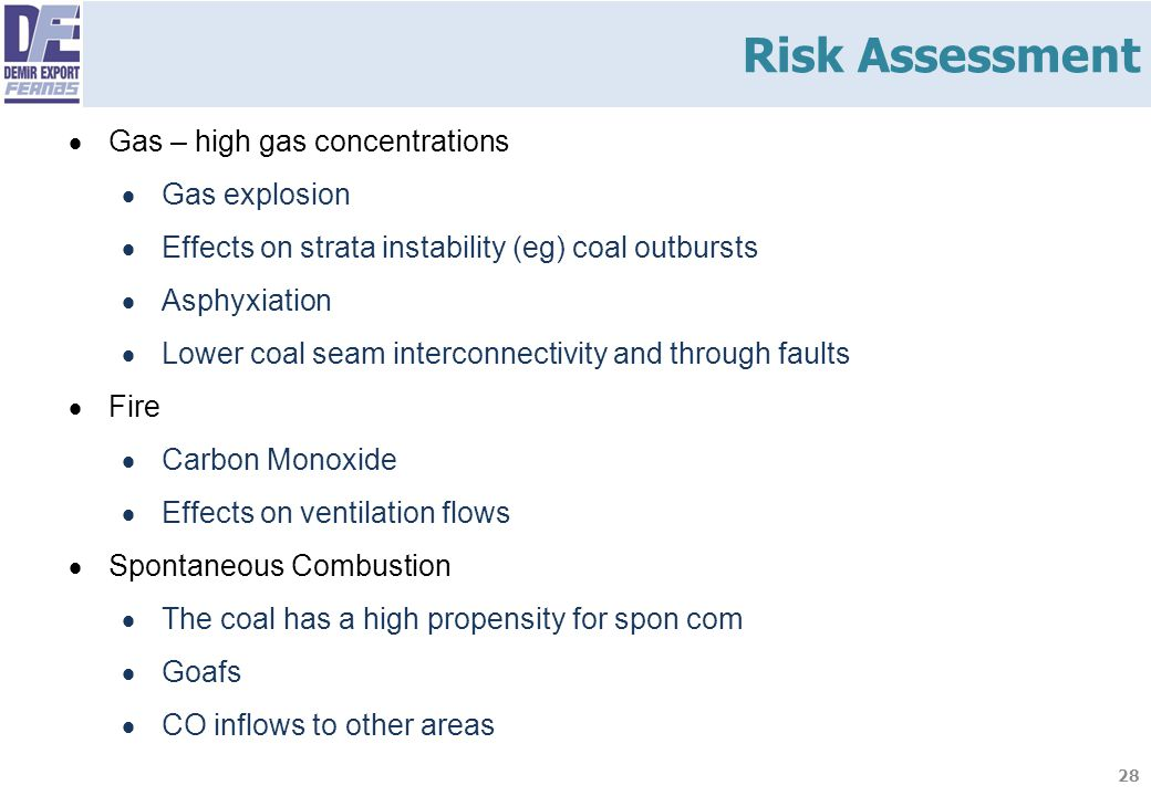 Risk Assessment Gas – high gas concentrations Gas explosion