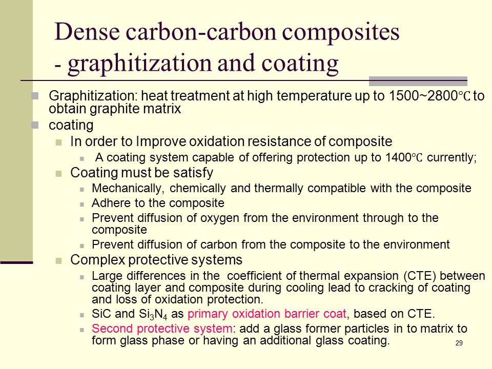 Dense carbon-carbon composites - graphitization and coating