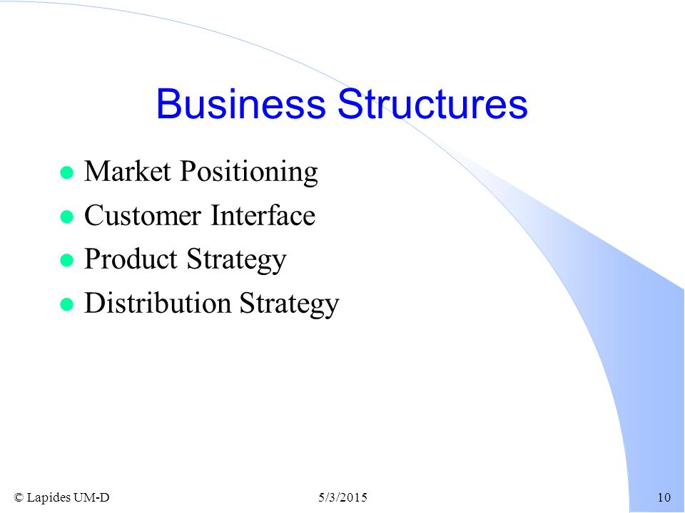 Business Structures Market Positioning Customer Interface