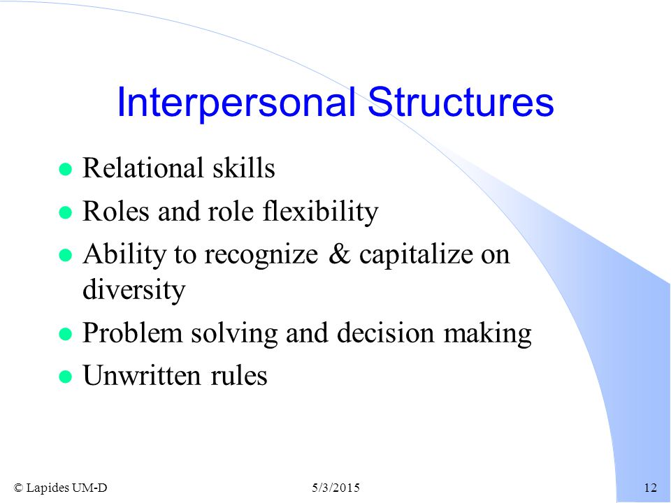 Interpersonal Structures