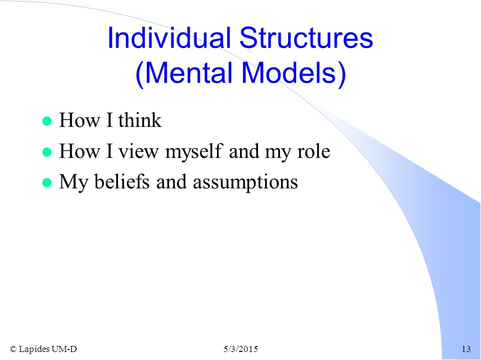 Individual Structures (Mental Models)
