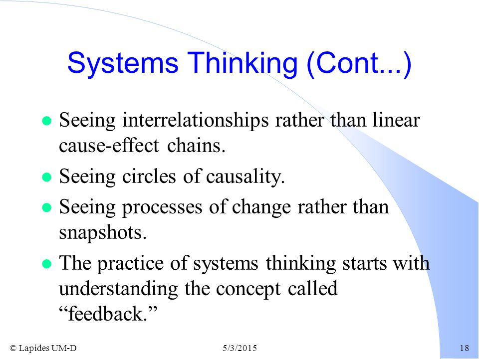 Systems Thinking (Cont...)