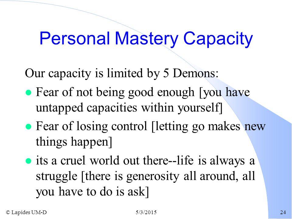 Personal Mastery Capacity
