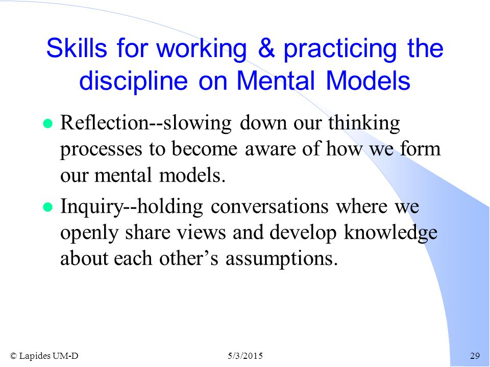 Skills for working & practicing the discipline on Mental Models