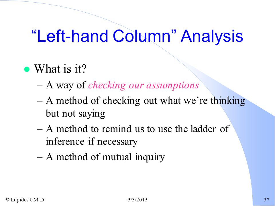 Left-hand Column Analysis