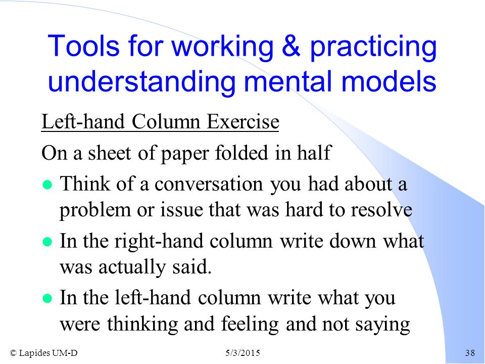 Tools for working & practicing understanding mental models