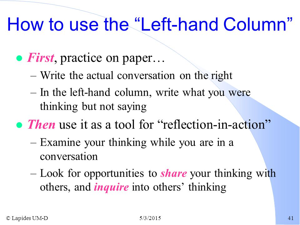 How to use the Left-hand Column