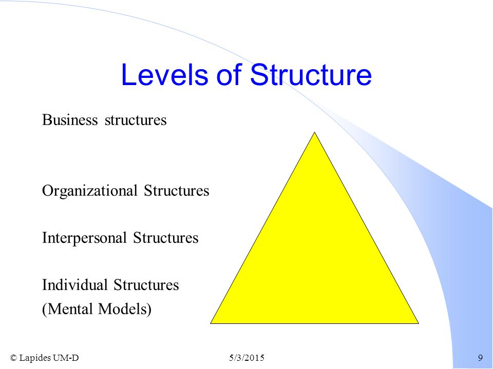 Levels of Structure Business structures Organizational Structures