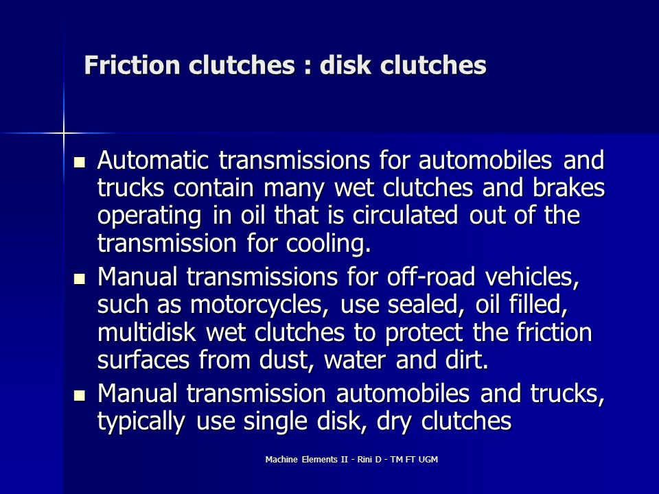 Friction clutches : disk clutches