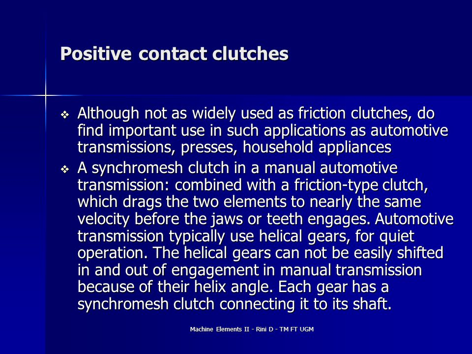 Positive contact clutches
