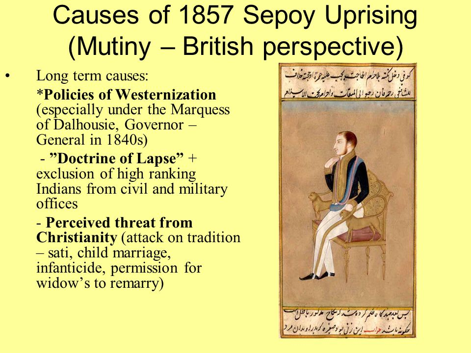 Causes of 1857 Sepoy Uprising (Mutiny – British perspective)