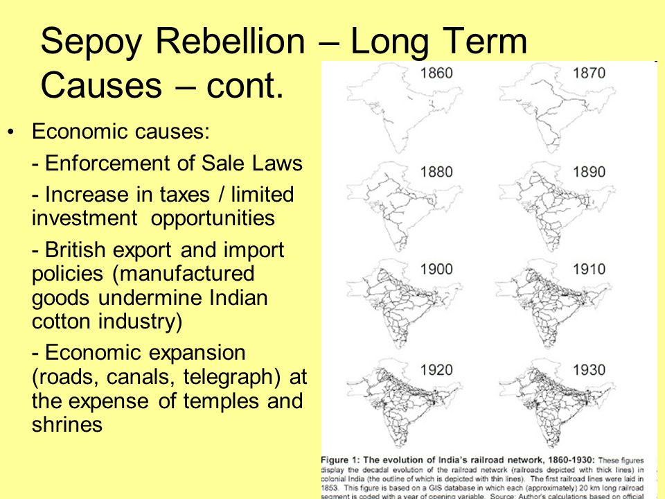 Sepoy Rebellion – Long Term Causes – cont.