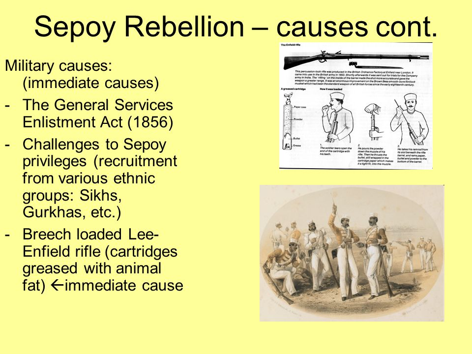 Sepoy Rebellion – causes cont.