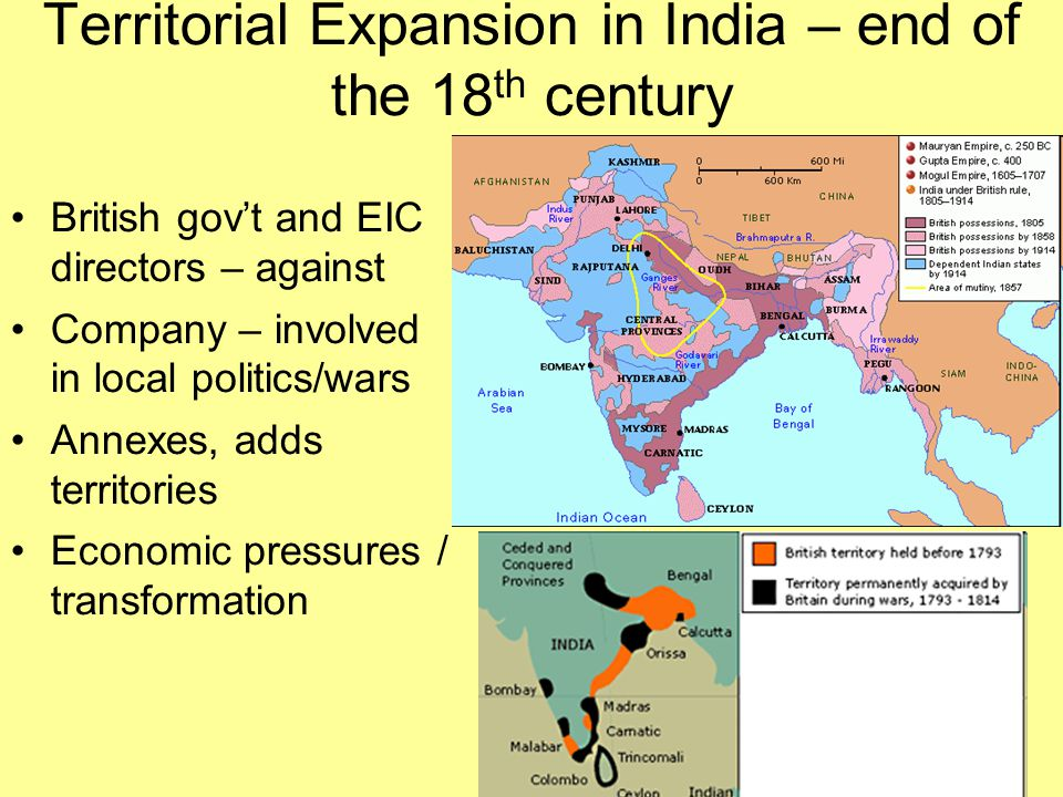 Territorial Expansion in India – end of the 18th century
