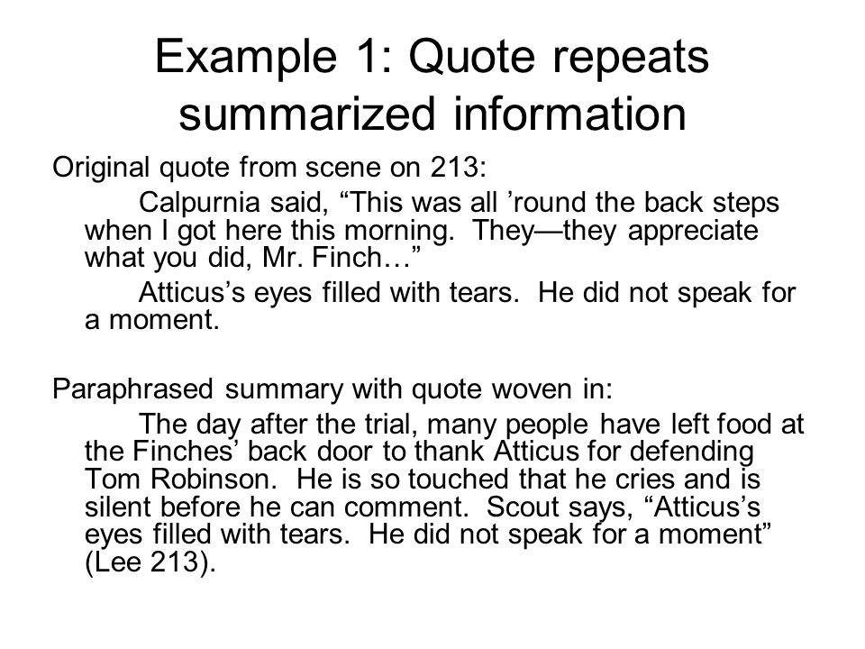 Example 1: Quote repeats summarized information