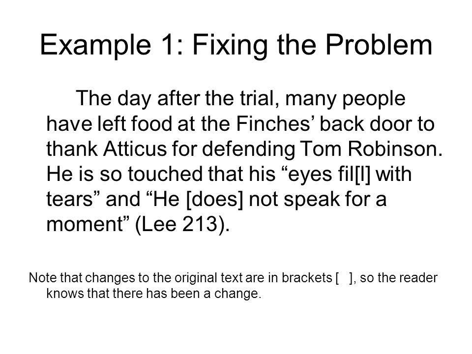 Example 1: Fixing the Problem