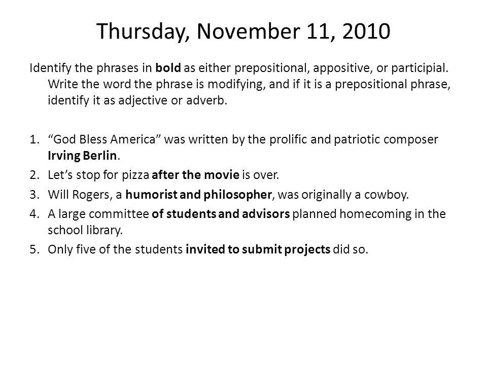 Thursday, November 11, 2010