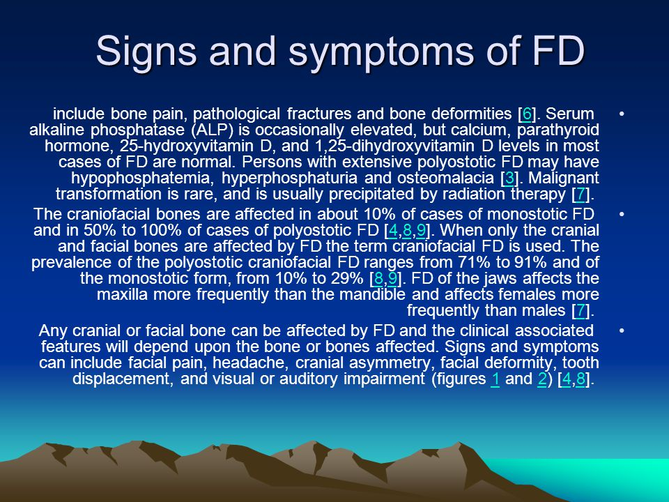 Signs and symptoms of FD