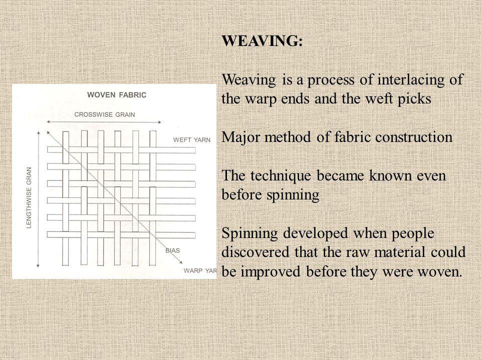 WEAVING: Weaving is a process of interlacing of the warp ends and the weft picks. Major method of fabric construction.