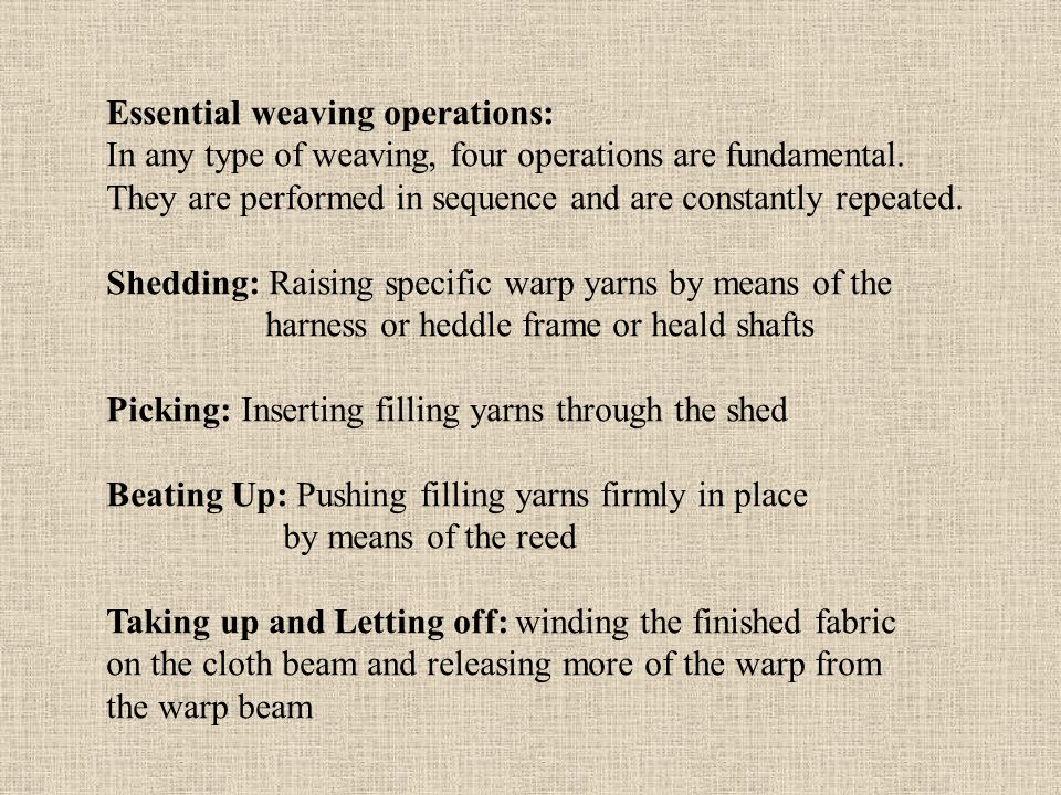 Essential weaving operations: