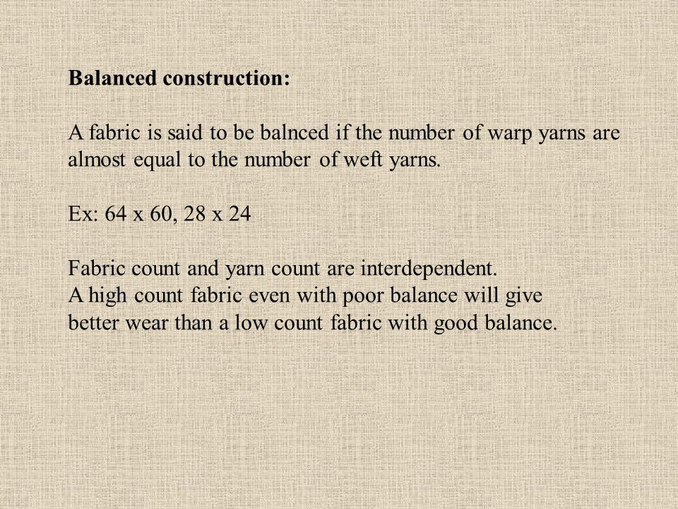 Balanced construction: