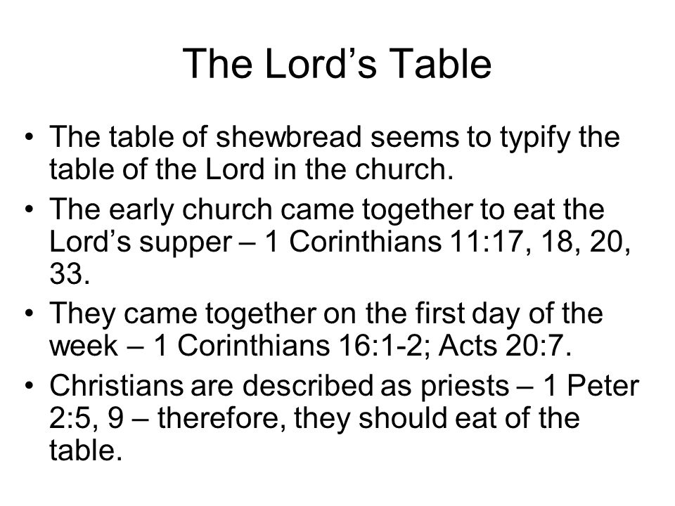 The Lord's Table The table of shewbread seems to typify the table of the Lord in the church.