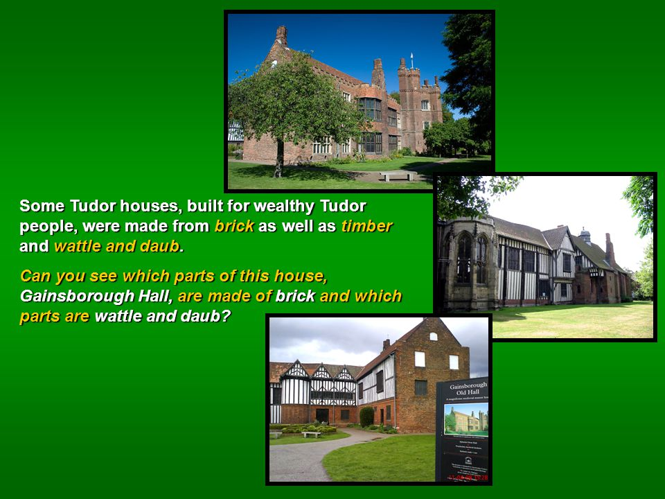 Some Tudor houses, built for wealthy Tudor people, were made from brick as well as timber and wattle and daub.