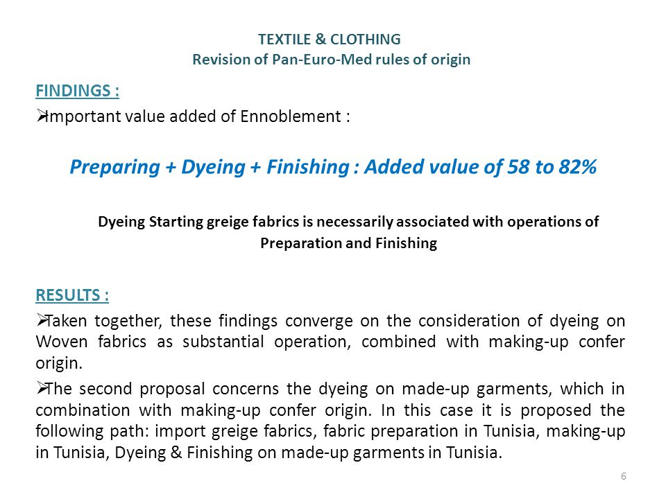 Preparing + Dyeing + Finishing : Added value of 58 to 82%