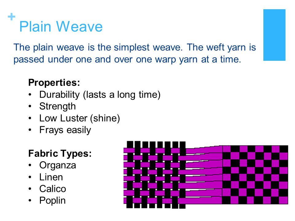Plain Weave The plain weave is the simplest weave. The weft yarn is passed under one and over one warp yarn at a time.